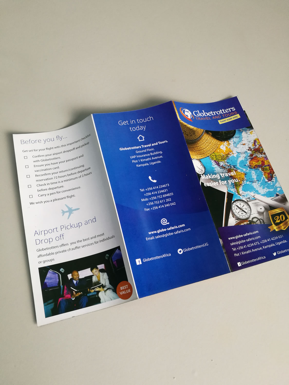 Business Brochure Design and Printing for Travel and Tours / Travel Agency in Kampala Uganda by Qauntum Dynamics Ltd