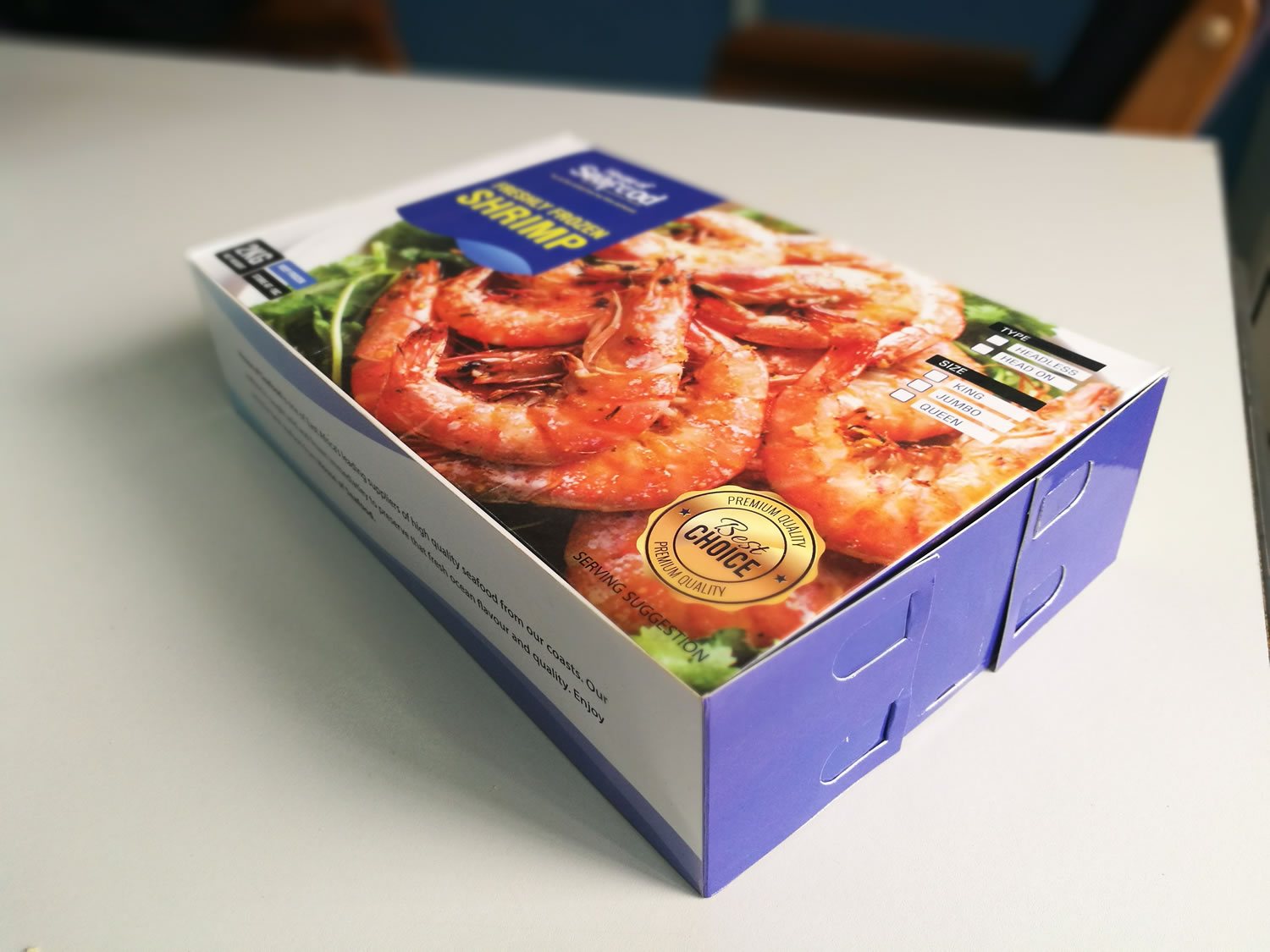 Frozen food foldable waterproofpackaging box designed and printing in Uganda by Quantum Dynamics Ltd